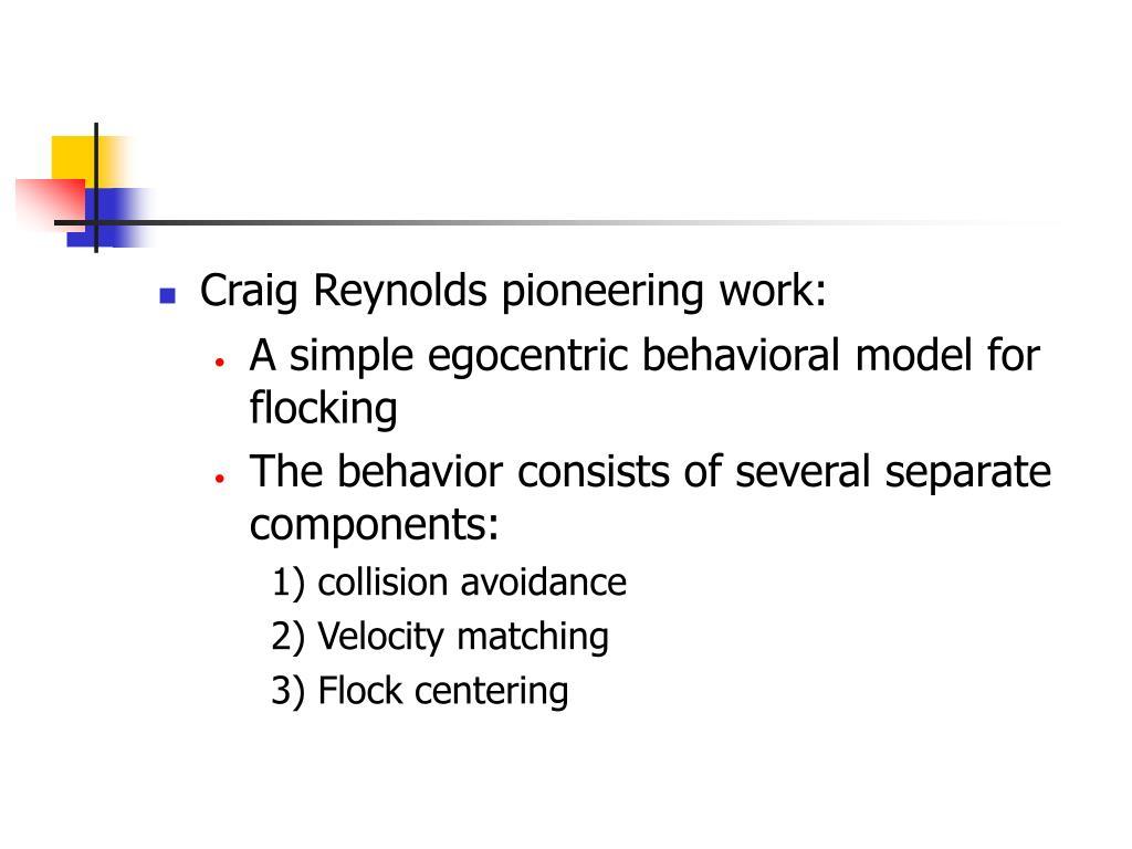 Craig Reynolds pioneering work:
