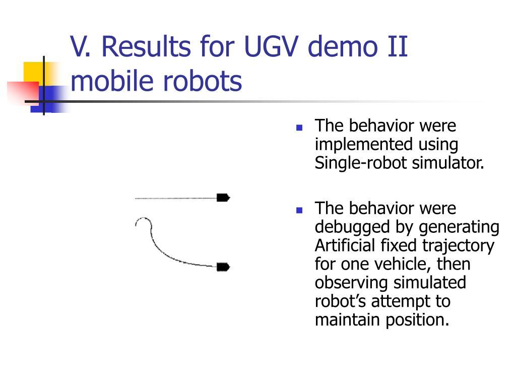 V. Results for UGV demo II mobile robots