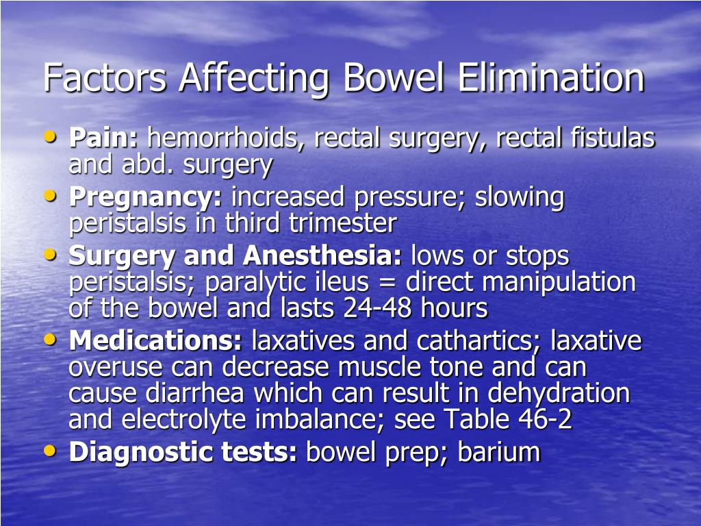 Factors Affecting Bowel Elimination