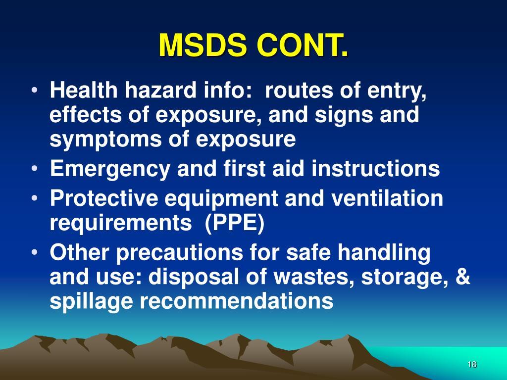 MSDS CONT.