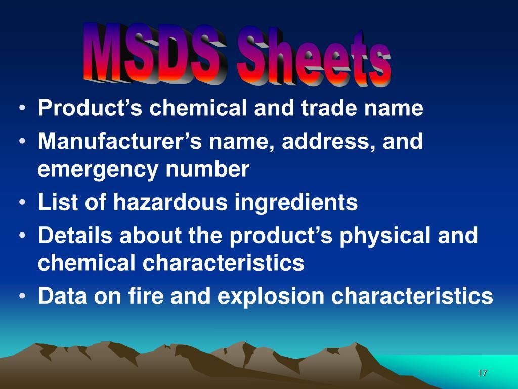MSDS Sheets