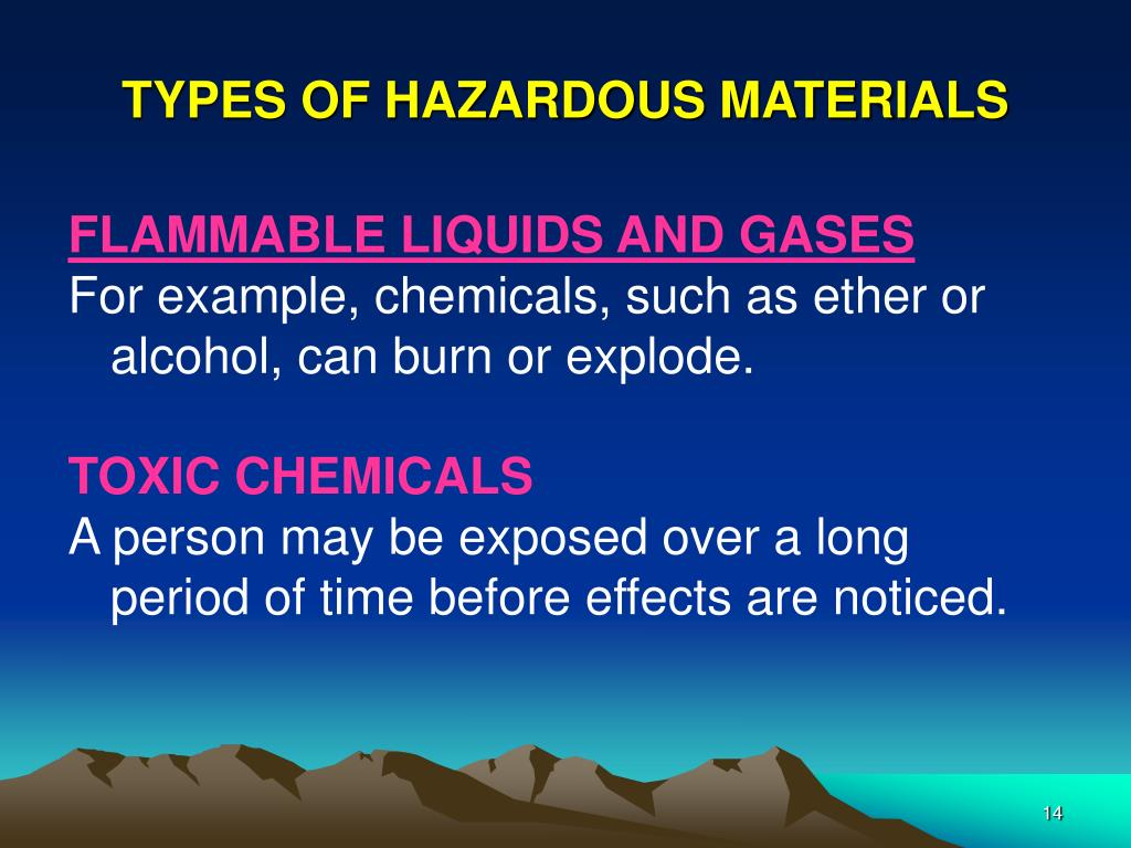 TYPES OF HAZARDOUS MATERIALS