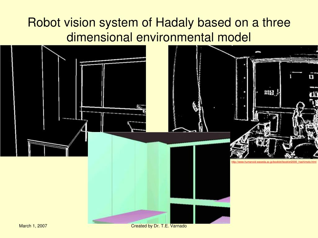 Robot vision system of Hadaly based on a three dimensional environmental model