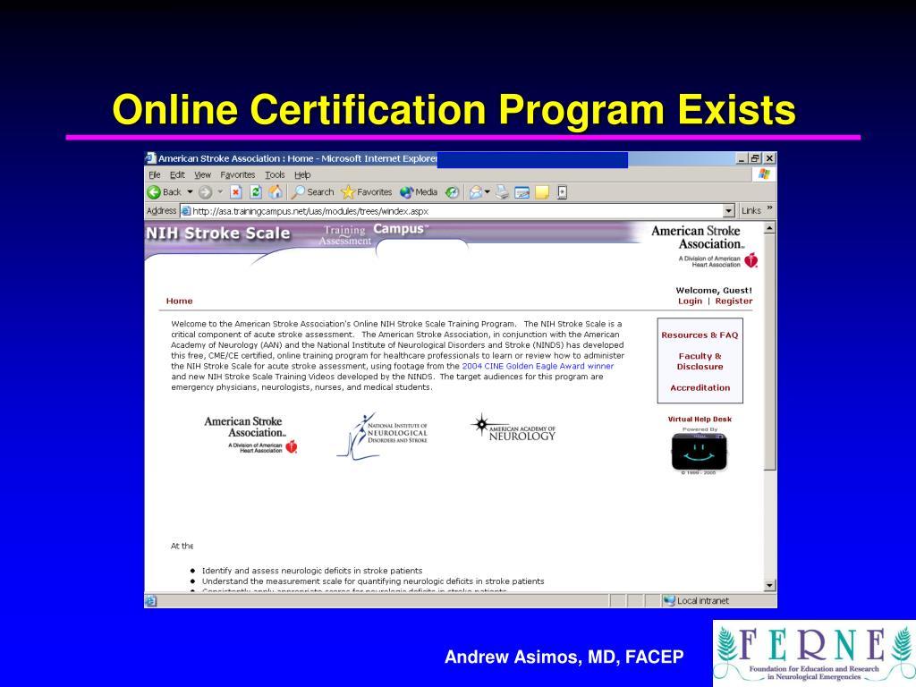 certification nihss training using