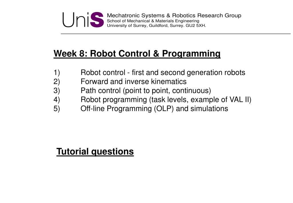 Week 8: Robot Control & Programming