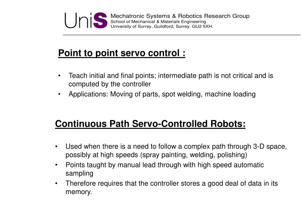 Point to point servo control
