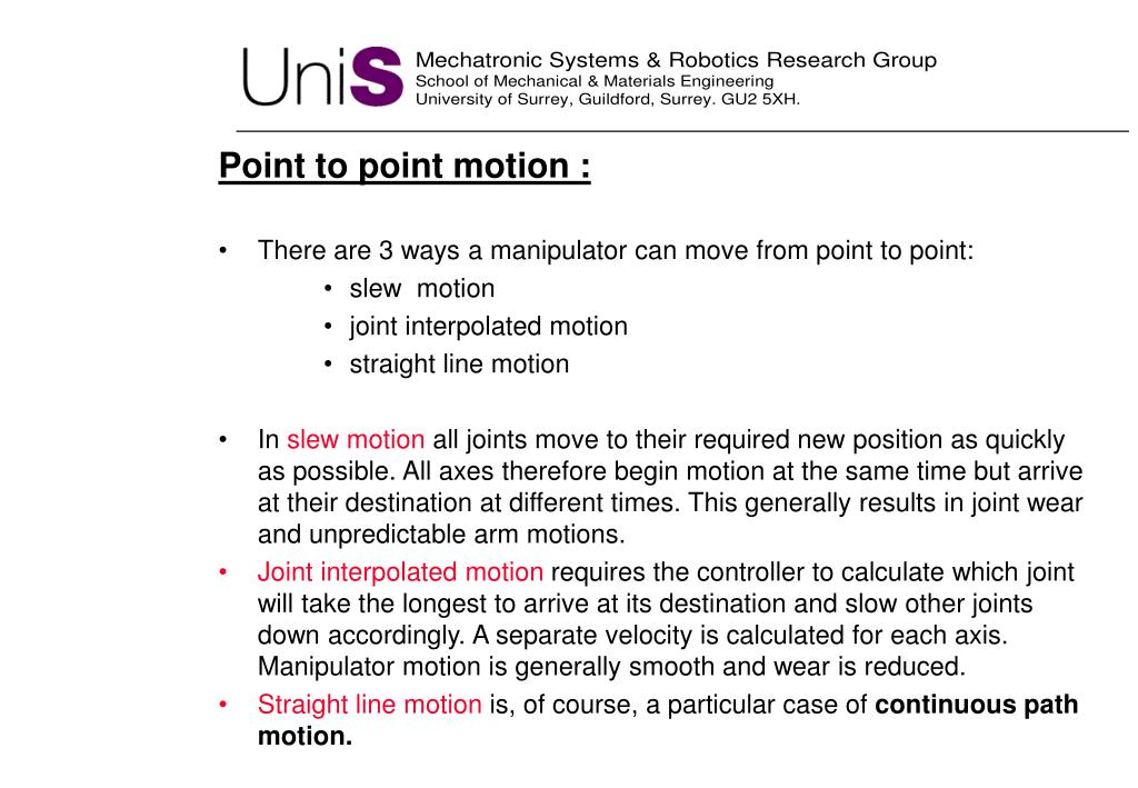 Point to point motion