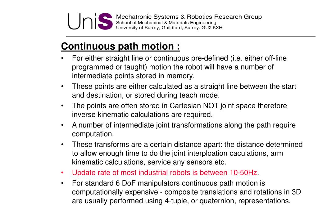 Continuous path motion