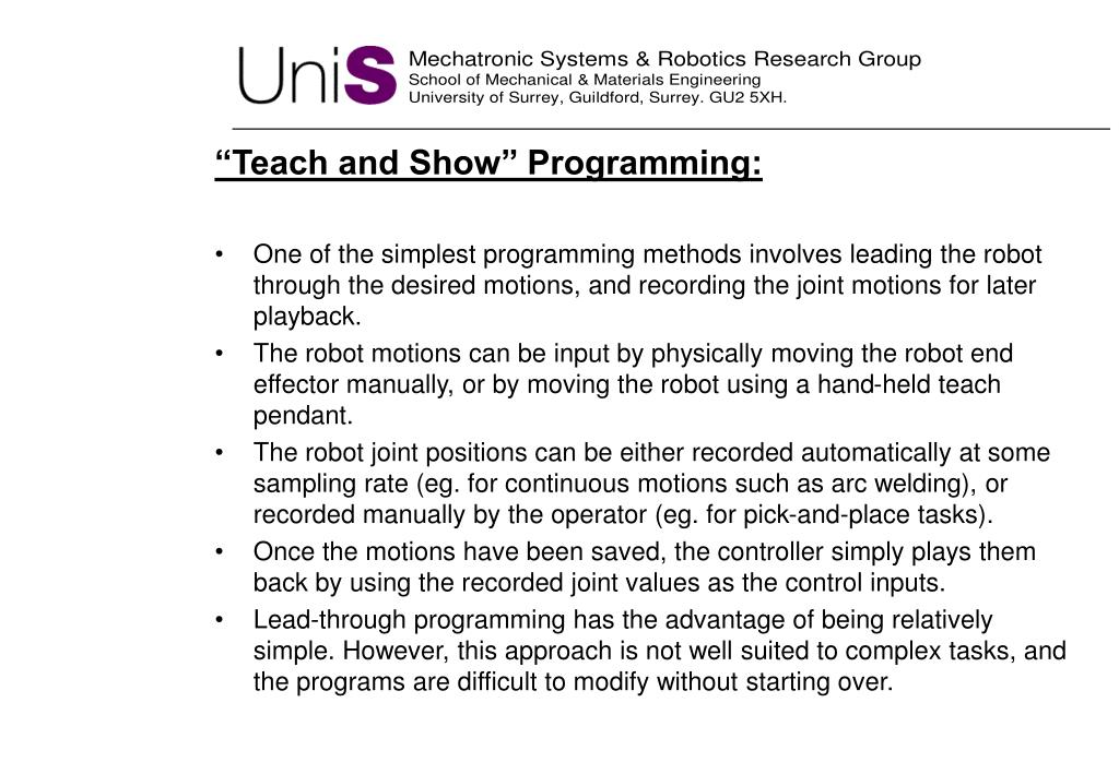 """Teach and Show"" Programming"
