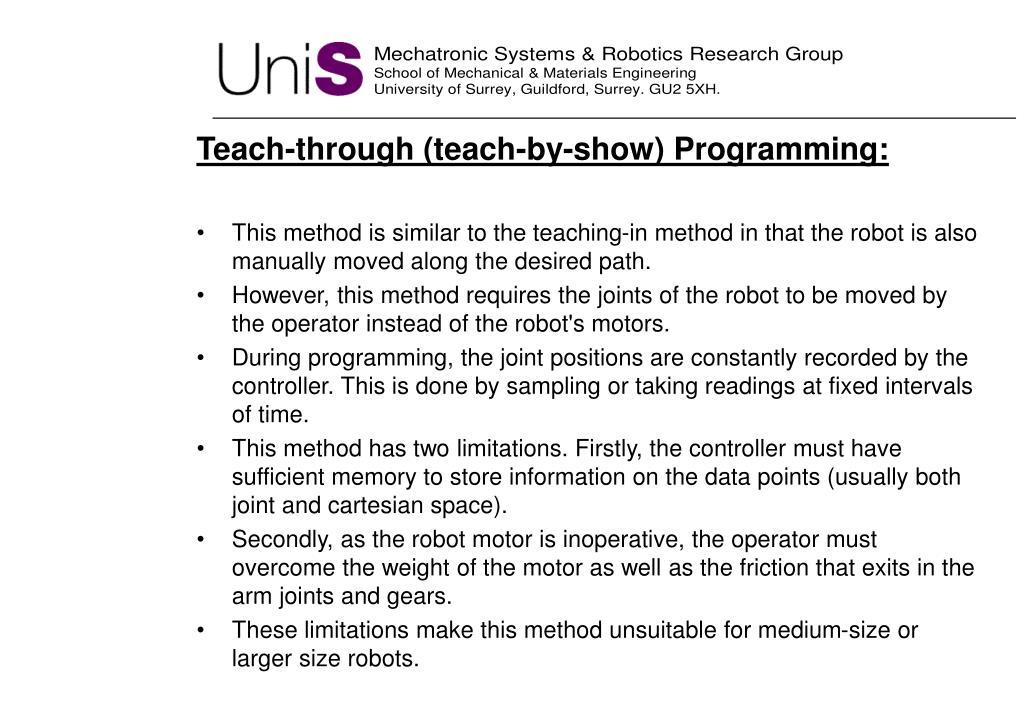 Teach-through (teach-by-show) Programming