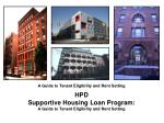 hpd supportive housing loan program a guide to tenant eligibility and rent setting