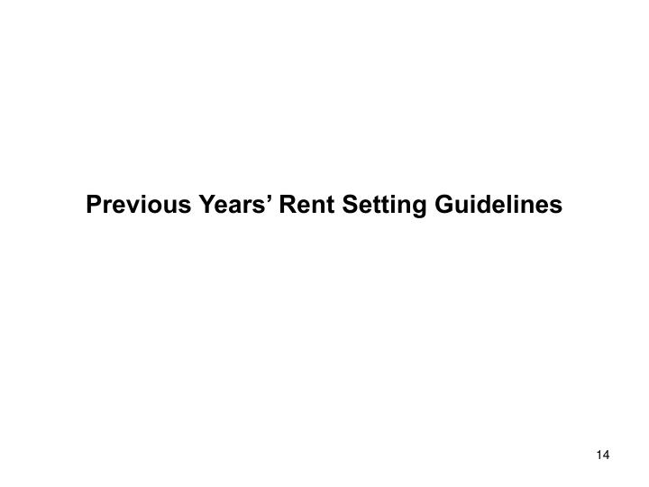 Previous Years' Rent Setting Guidelines