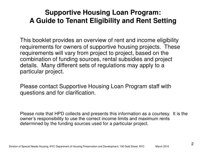 Supportive housing loan program a guide to tenant eligibility and rent setting