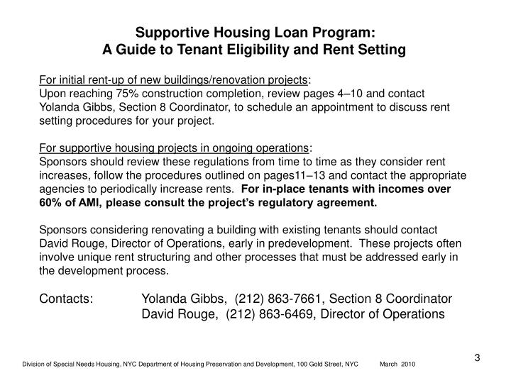 Supportive housing loan program a guide to tenant eligibility and rent setting1