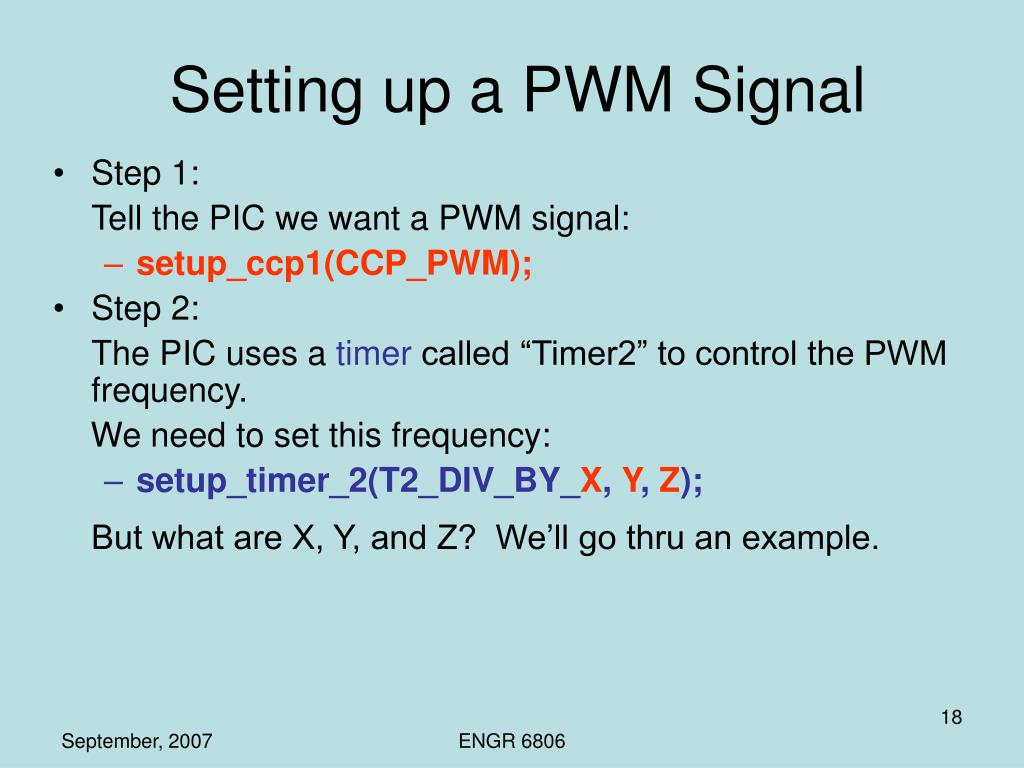 Setting up a PWM Signal