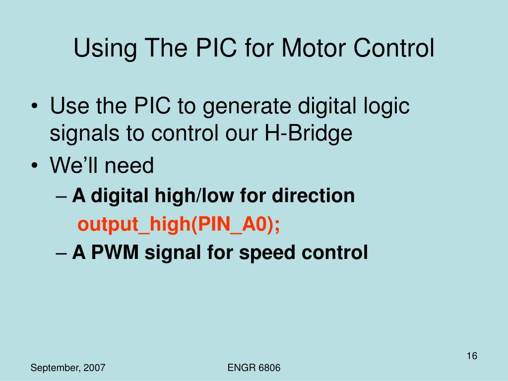 Using The PIC for Motor Control