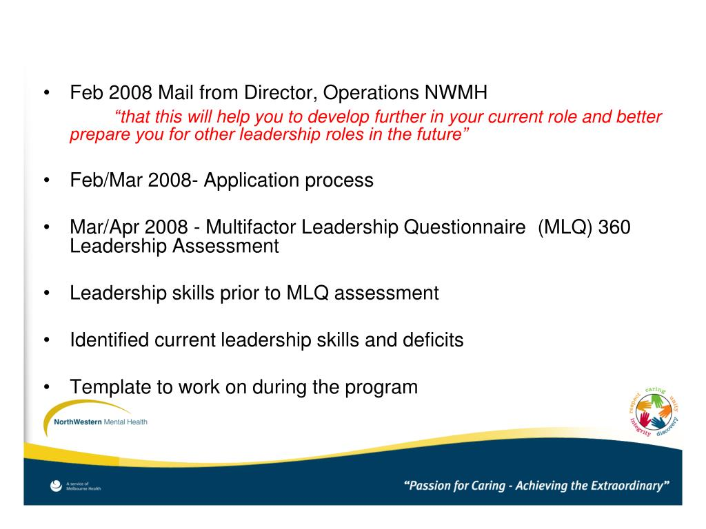 Feb 2008 Mail from Director, Operations NWMH