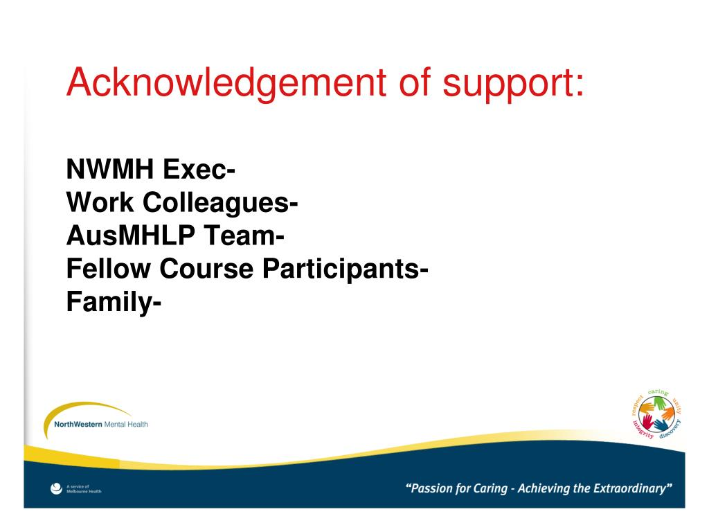 Acknowledgement of support: