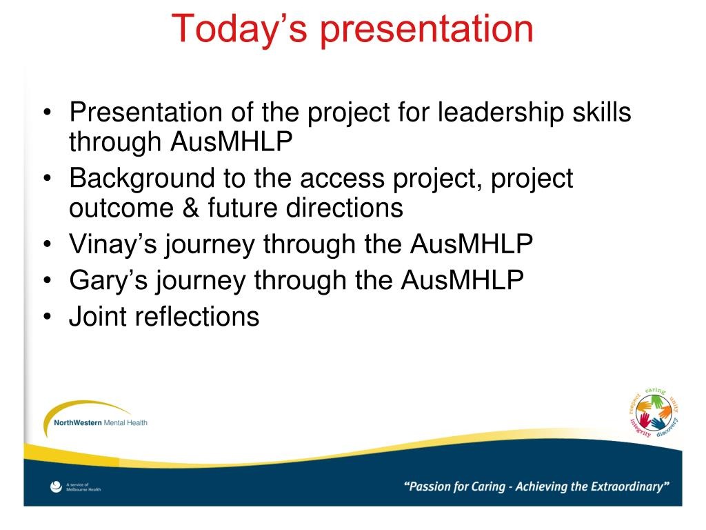 Presentation of the project for leadership skills through AusMHLP