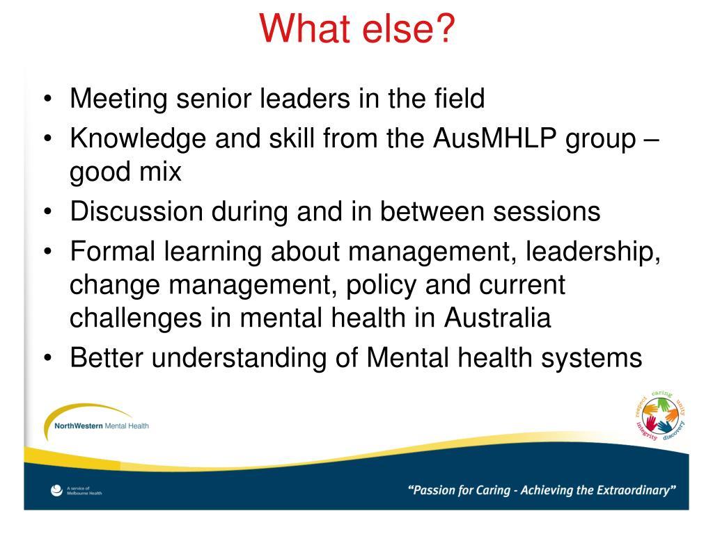 Meeting senior leaders in the field