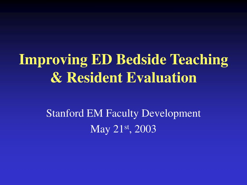 Improving ED Bedside Teaching