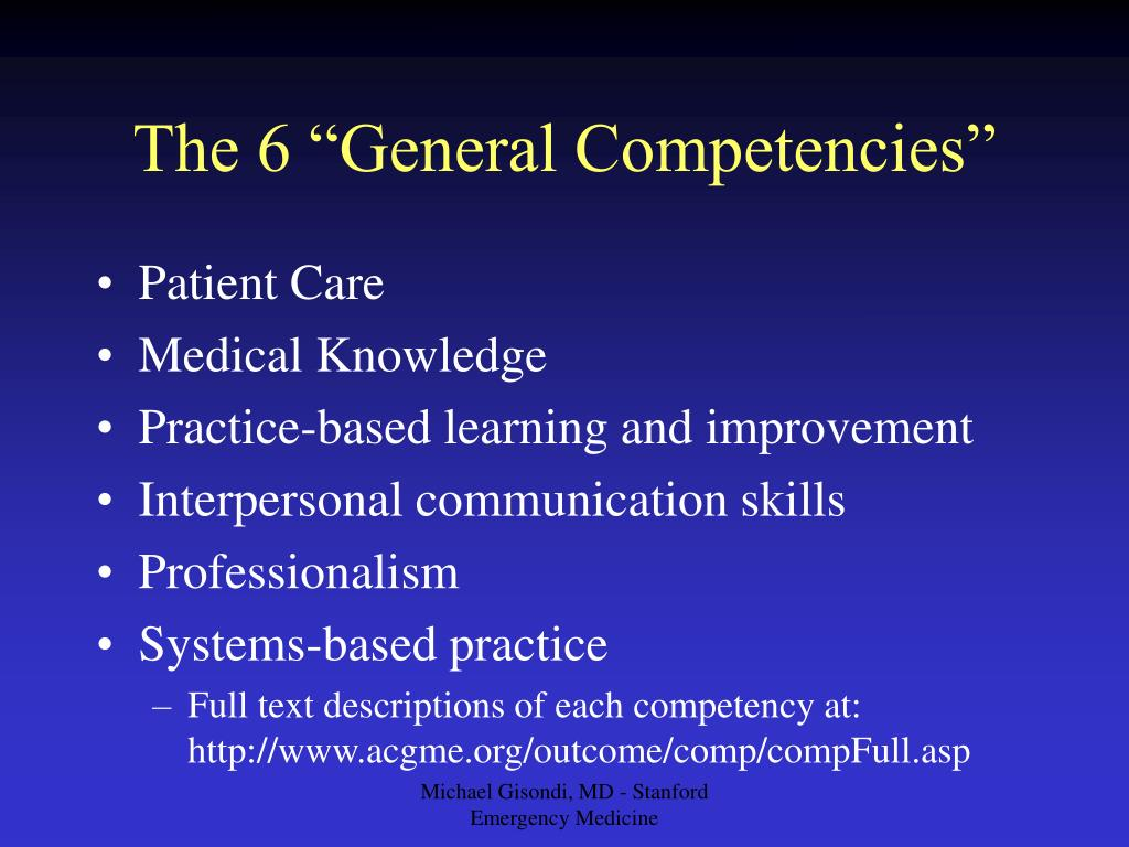 "The 6 ""General Competencies"""