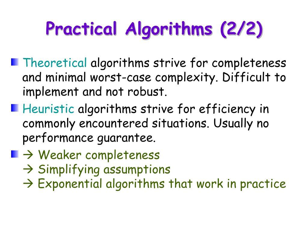 Practical Algorithms (2/2)