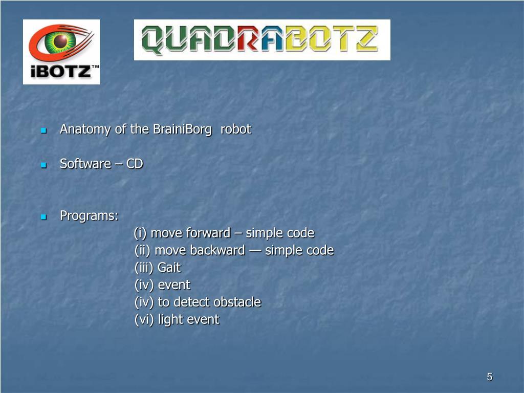 Anatomy of the BrainiBorg  robot