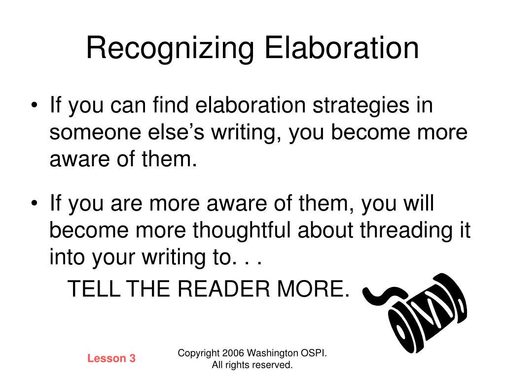 Recognizing Elaboration