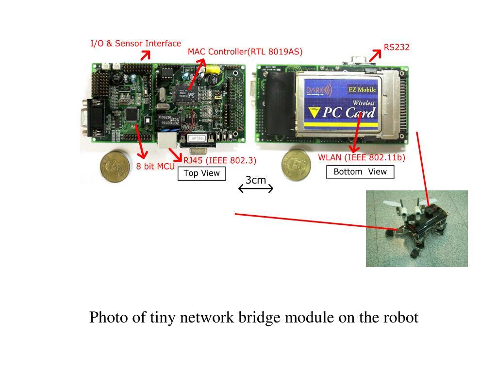 Photo of tiny network bridge module on the robot