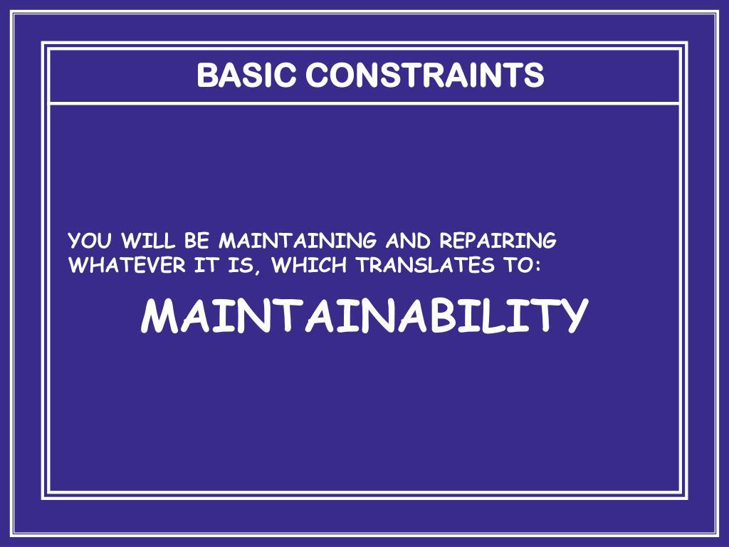 BASIC CONSTRAINTS