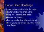bonus beep challenge