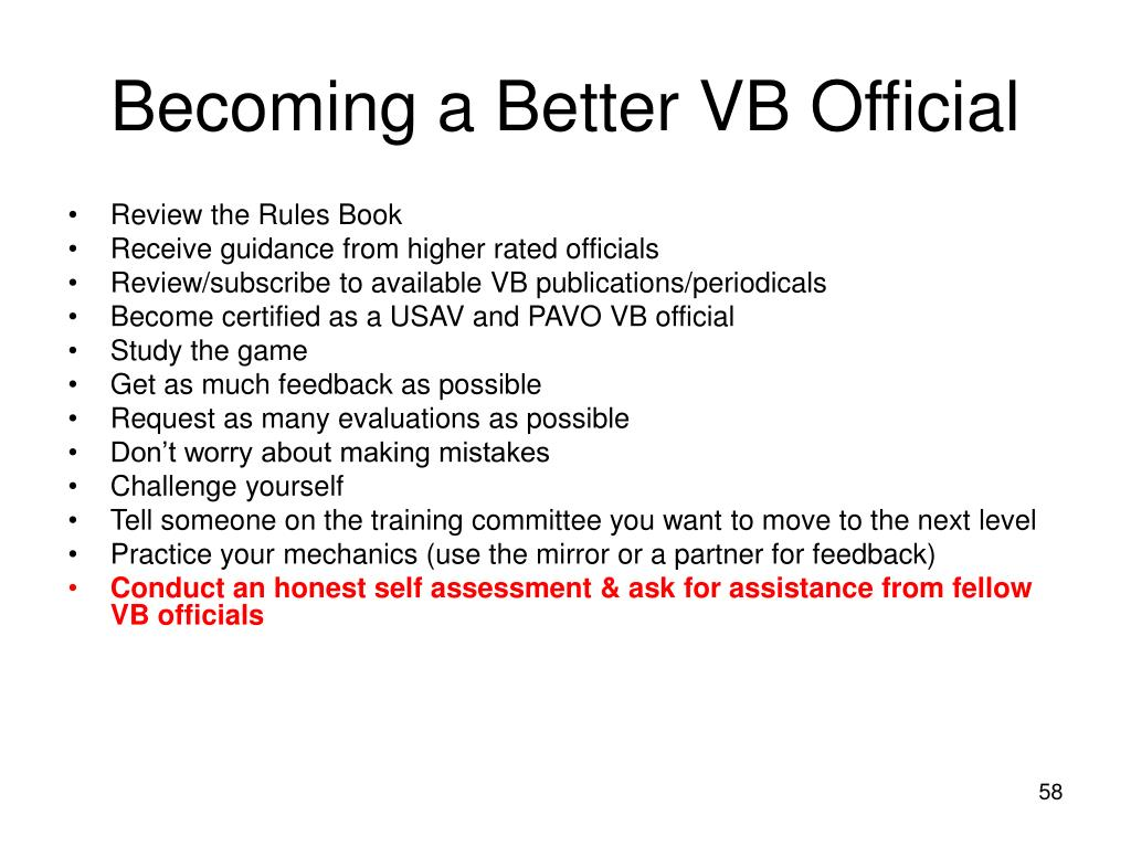 Becoming a Better VB Official