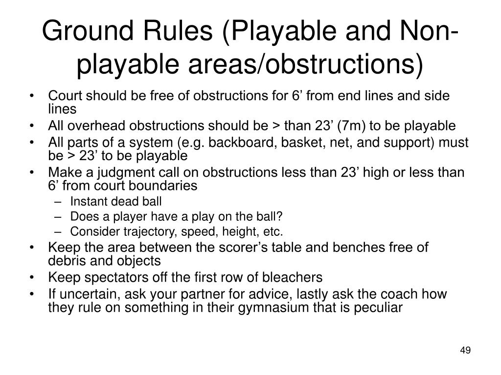 Ground Rules (Playable and Non-playable areas/obstructions)