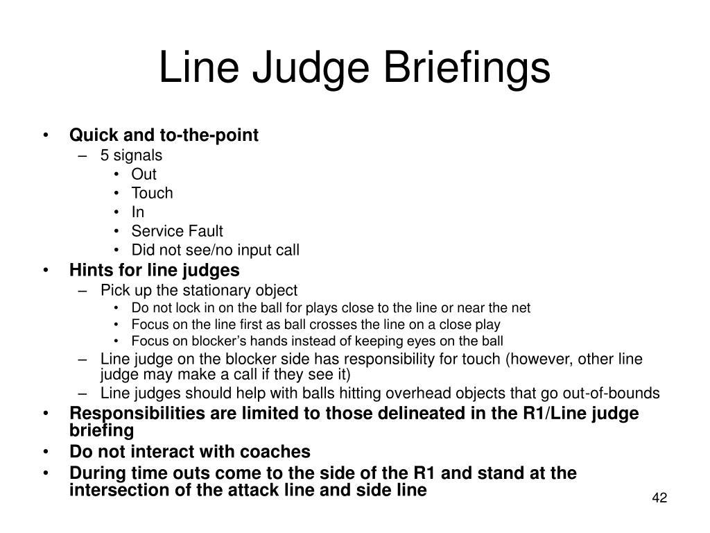 Line Judge Briefings