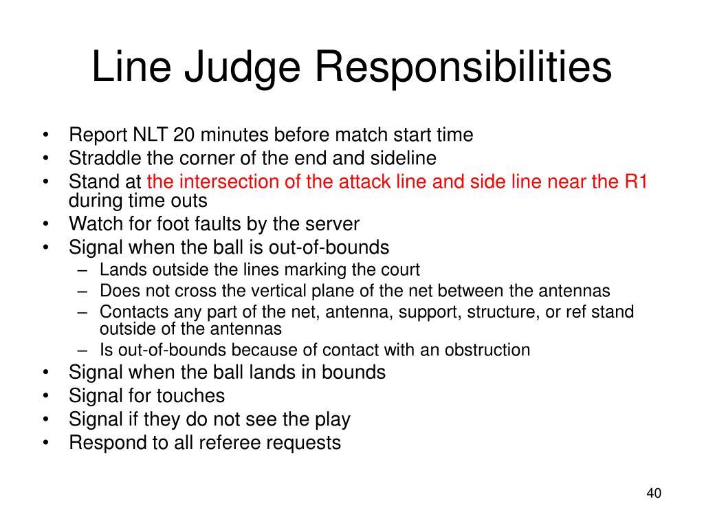 Line Judge Responsibilities