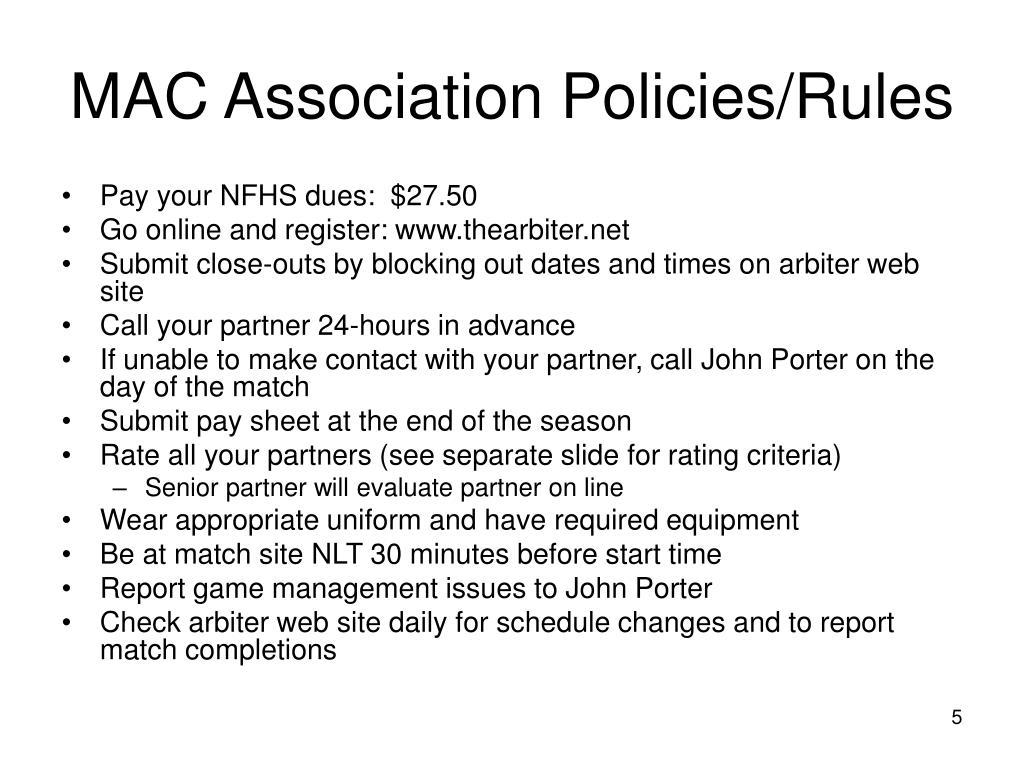 MAC Association Policies/Rules