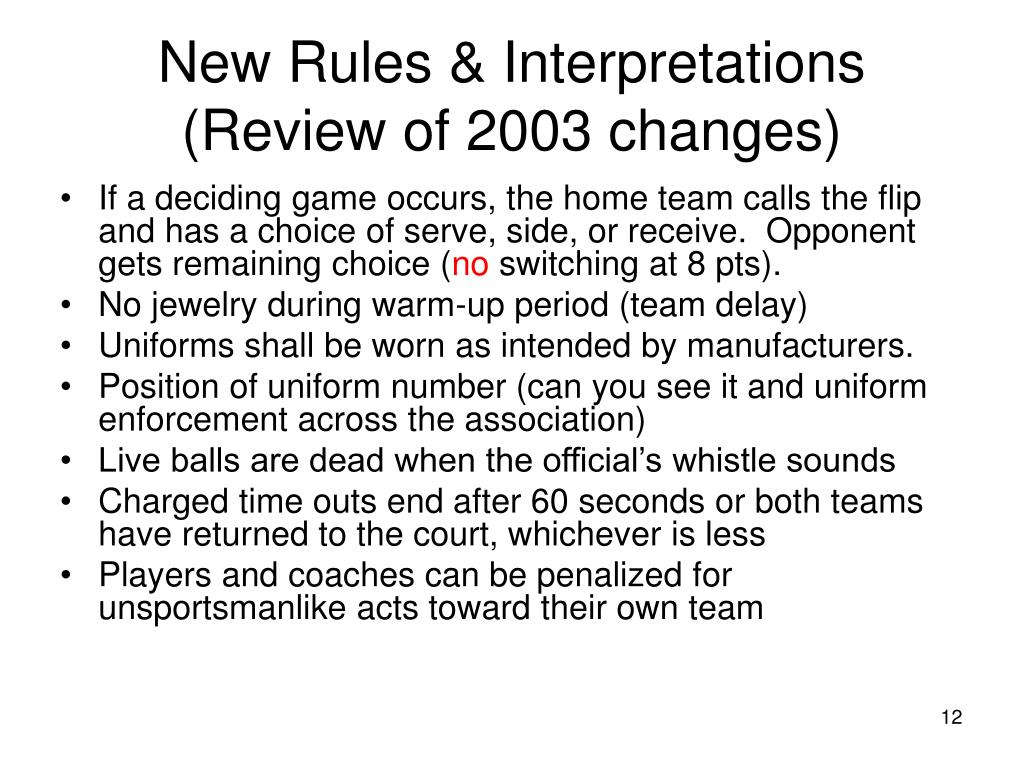 New Rules & Interpretations (Review of 2003 changes)