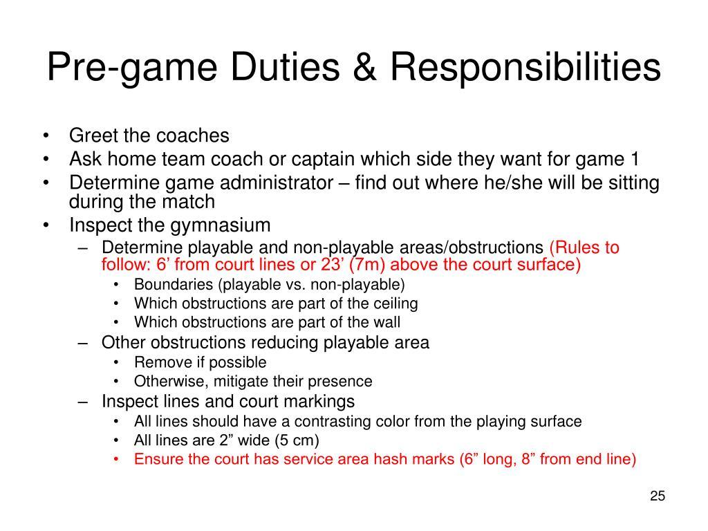 Pre-game Duties & Responsibilities