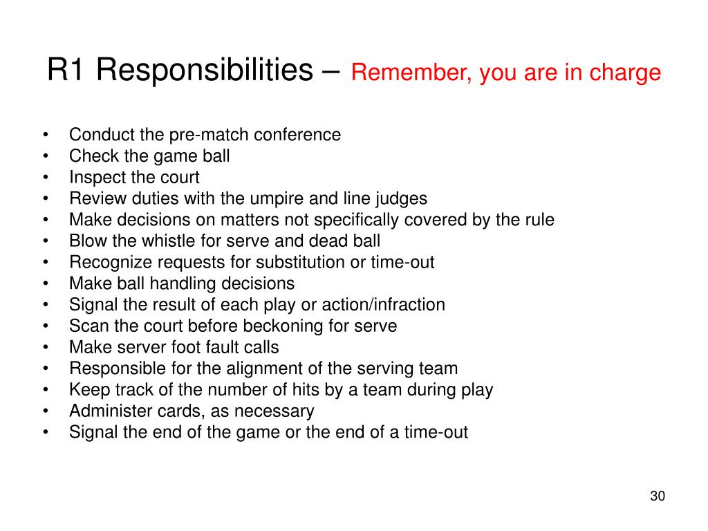 R1 Responsibilities –