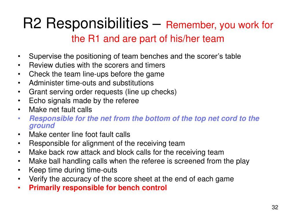 R2 Responsibilities –