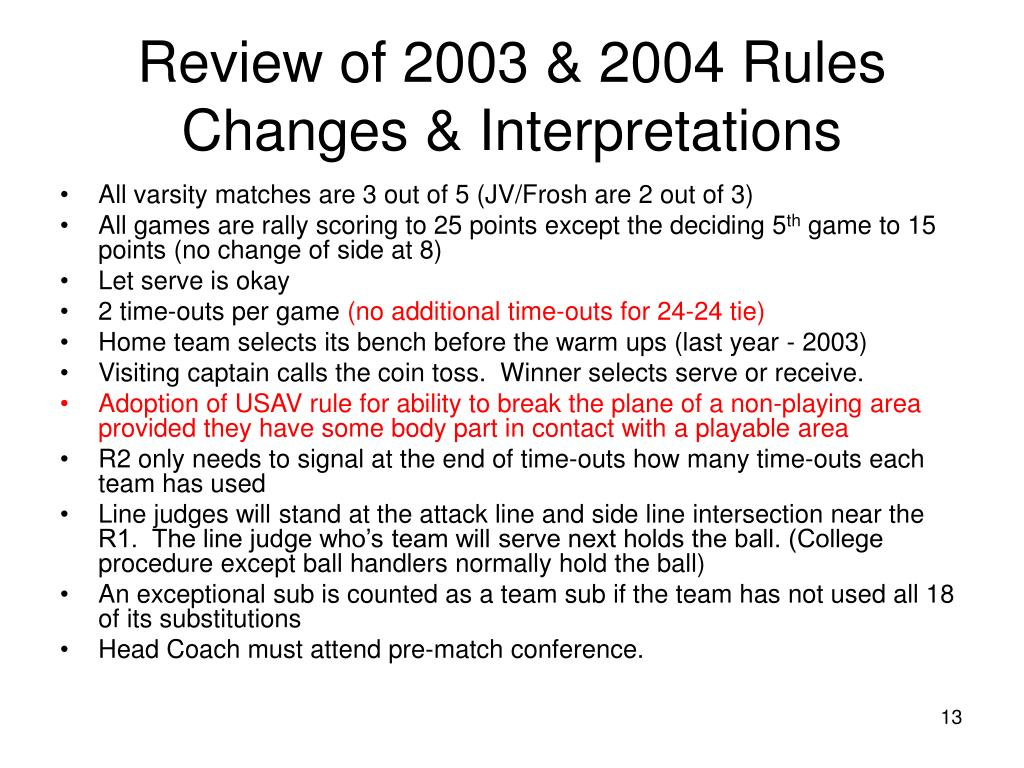 Review of 2003 & 2004 Rules Changes & Interpretations