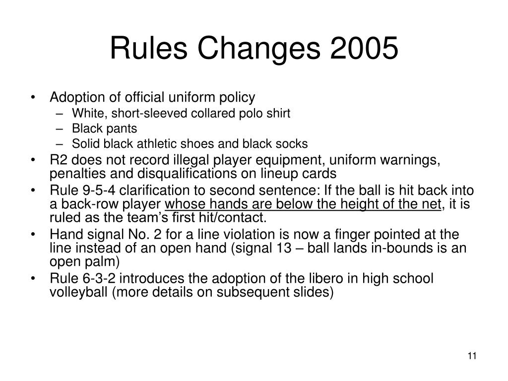 Rules Changes 2005