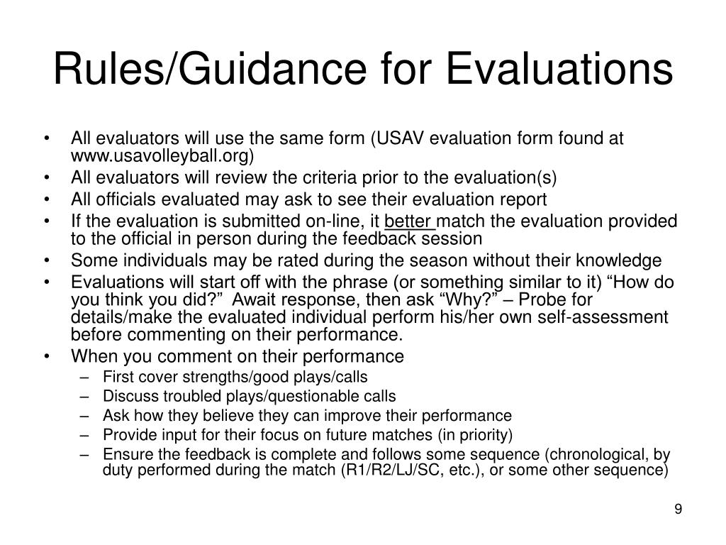 Rules/Guidance for Evaluations