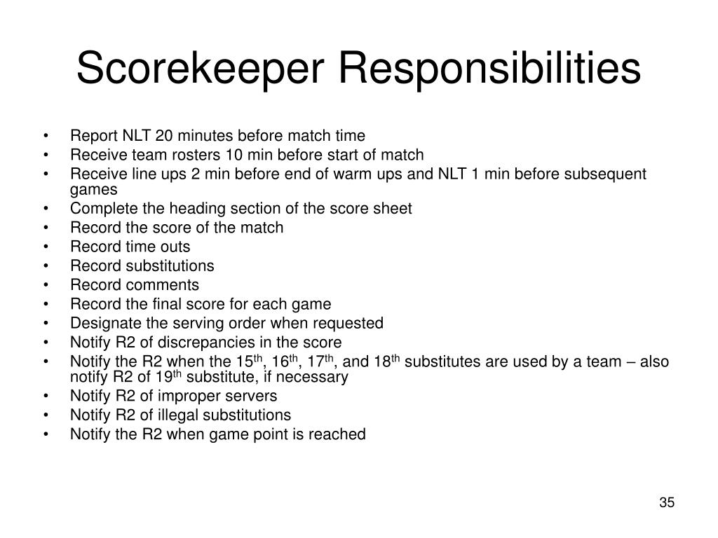 Scorekeeper Responsibilities