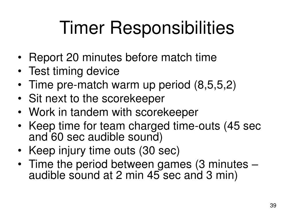 Timer Responsibilities