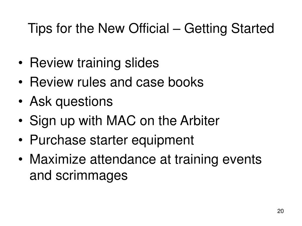 Tips for the New Official – Getting Started