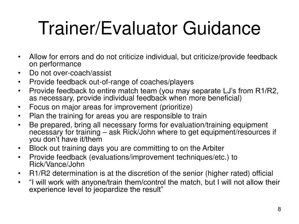 Trainer/Evaluator Guidance