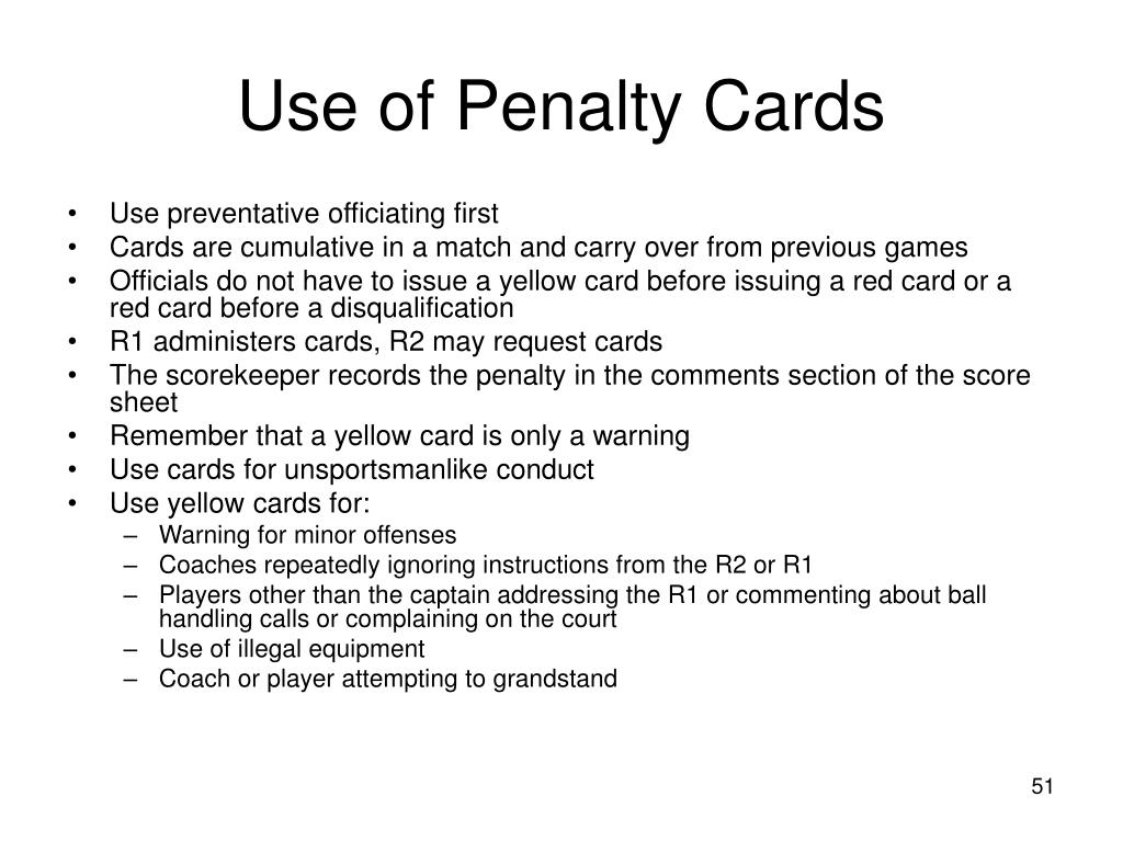 Use of Penalty Cards