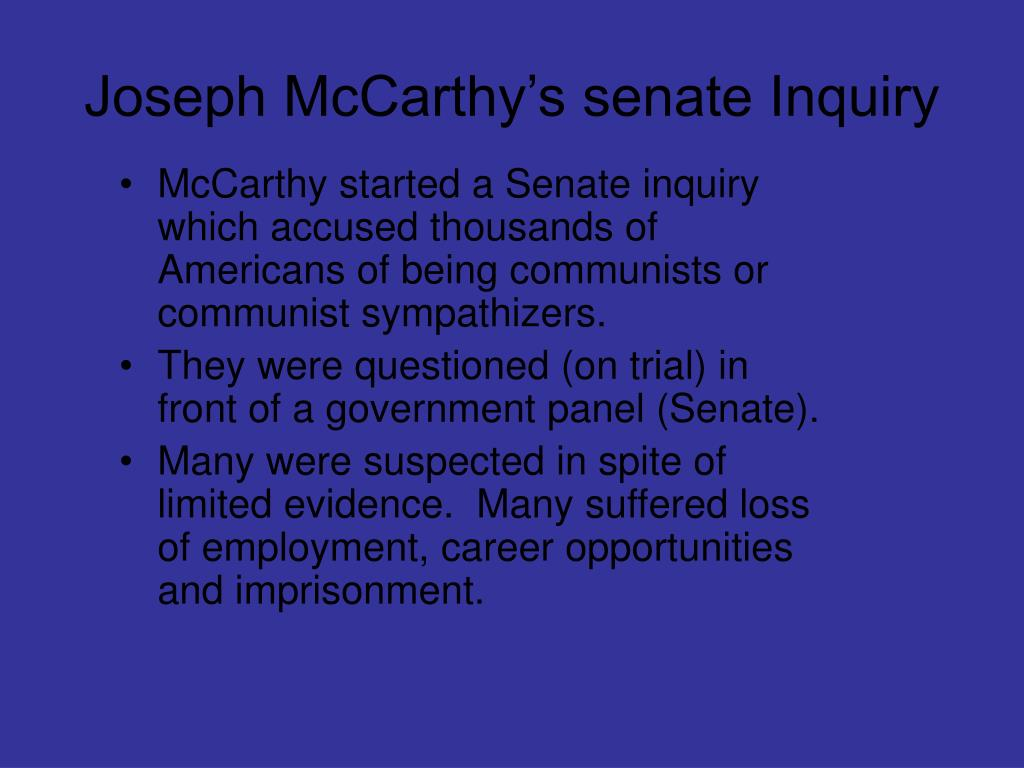 Joseph McCarthy's senate Inquiry
